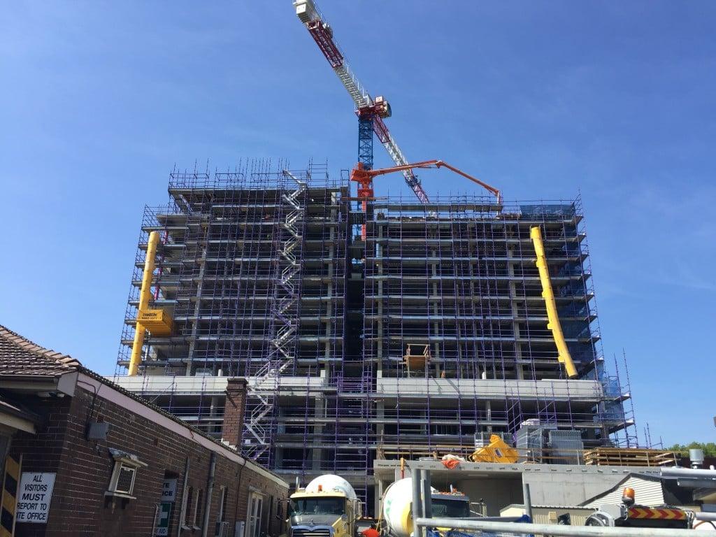 21-23 Morwick Street Strathfield high rise scaffold and construction crane