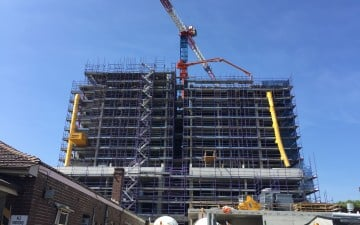 21-23 Morwick Street Strathfield high rise scaffold and construction crane